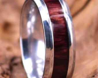 Zebra Wood Titanium Wedding Band  Lined With Exotic Zebra Wood 8MM Mens Wedding Band Custom Rings By Pristine