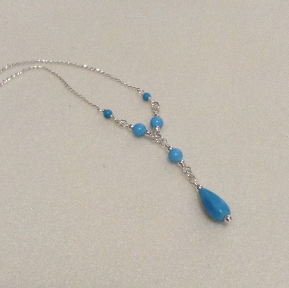 Turquiose and Sterling Silver Y Necklace