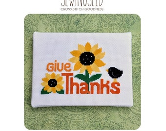 Give Thanks Cross Stitch Pattern, Thanksgiving Instant Download