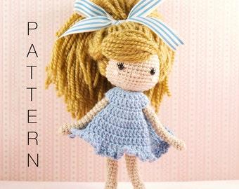 Amigurumi crochet doll pattern - Emmy-Lou crochet doll PATTERN ONLY (English)