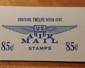 US Postage Air Mail Seven-Cent Stamps Booklet of 12 Stamps Aviation Theme Blue 1958