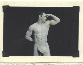 Biflexual: Vintage LGBTQ+ Card - gay bodybuilding, weightlifting card, strength training, male nude, fig leaf, studio photograph circa 1910