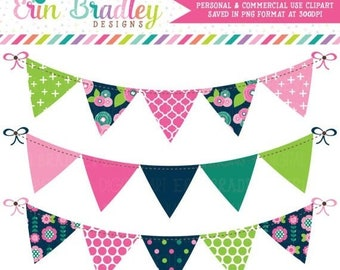80% OFF SALE Floral Bloom Banner Flag Clipart Graphics in Pink Navy Blue and Green