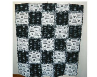 Cup Of Coffee Rag Quilt Throw - Handmade Cotton Flannel Rag Quilt