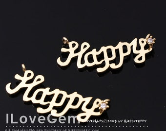 NP-1504 Gold plated, Happy, Pendant, 2pcs