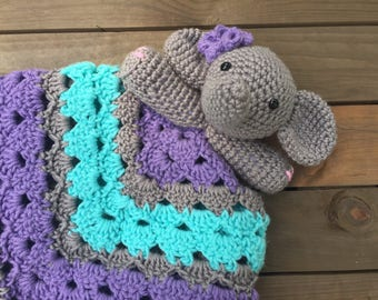 Crochet Elephant Lovey, elephant, security blanket, lovey, newborn, baby, toddler, baby shower gift, nursery decor