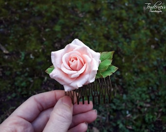 Delicate handmade hair comb with pastel pink rose, bridal hair accessories, mother's day gift