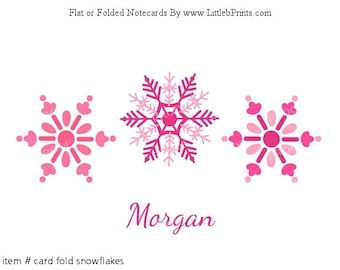 Pink Snowflake Note Cards Set of 10 personalized flat or folded cards