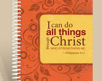 Philippians 4:13  Orange Cranberry / Prayer Journal