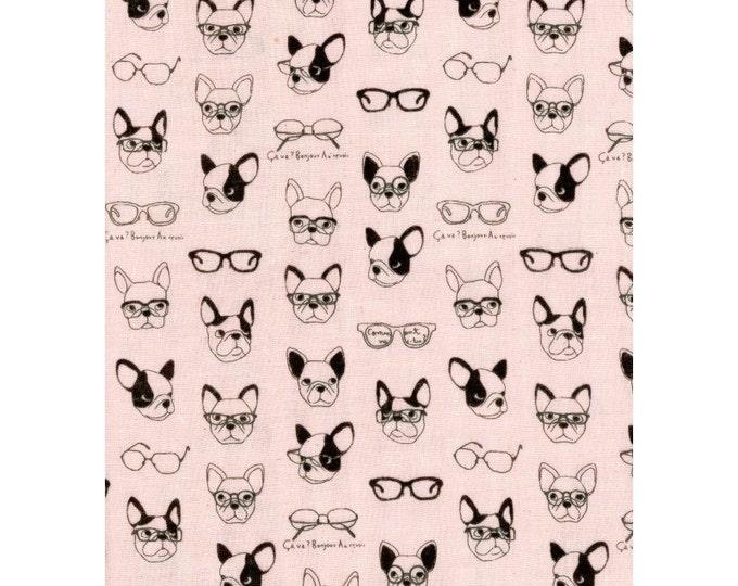 Kokka Japan Fabric - French Bulldogs - Double Gauze Cotton - K6006C Light Pink, select a length