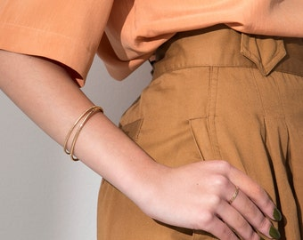 Benchmark Skinny Cuff / 14k gold fill / simple minimal thin layering bracelet / petite cuff / custom size