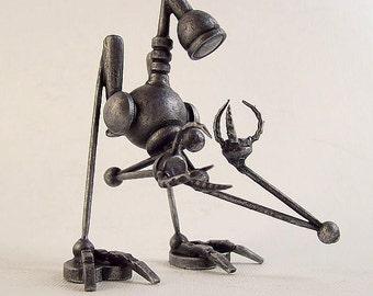 Robot Sculpture Robot Art Science Fiction Gift Miniature Bot Robotic Wood Statue Metallic Silver The Seeker Robo