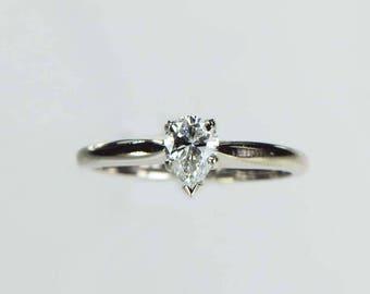Vintage 1970s Pear Shape Diamond Engagement Ring .45ct