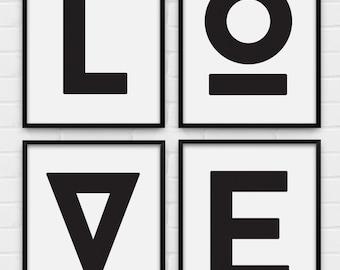 "Set of 4 Typography Posters - ""LOVE"" - Printable Posters - Digital Art, Download and Print JPG"