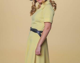 SALE Mellow Yellow Mod Dress // Vintage Yellow Dress // Collard Yellow Dress // Butter Yellow Mod Dress