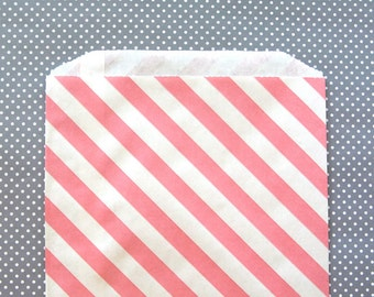 Pink Striped Goody Bags / Favor Bags / Treat Bags (20) - 6.25 x 9.25 inches