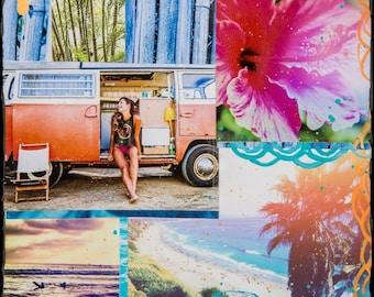 SUMMERTIME, Glicee, 8x8 and Up, Print on Canvas, Ocean, Surf Art, Encinitas, Cardiff, California, Coastline, Hibiscus, Swamis