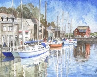 Padstow Harbor, ORIGINAL watercolor painting, Cornish harbor in watercolor, happy home decor by David Platt, FREE shipping