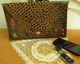 Leather clutch, large Envelop clutch, leather Evening bag,mothers day gift, crocodile spring bag, oversize bag, women wallet