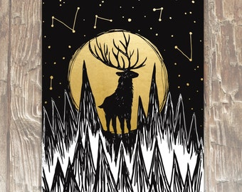 Moon Deer 8x10 Limited Edition Gold Foil Print