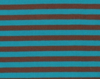 Japanese Cotton Jersey fabric - Kiyohara - reversible teal & Brown stripes - by 50cm