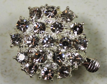 Silver Plated Single Strand Large Round Rhinestone Clasp