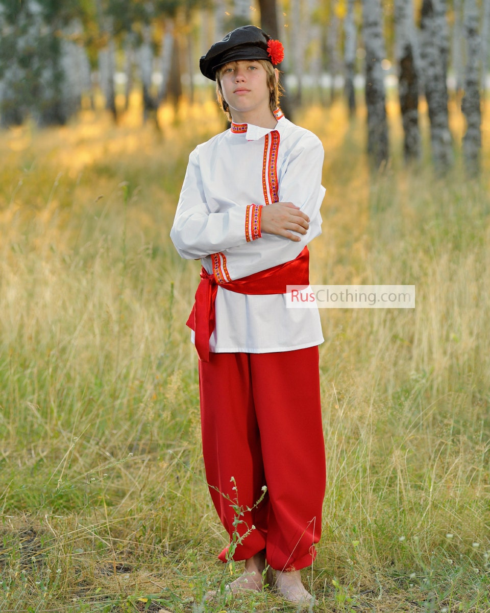 MAN Russian Costume National Clothing Russia Kosovorotka