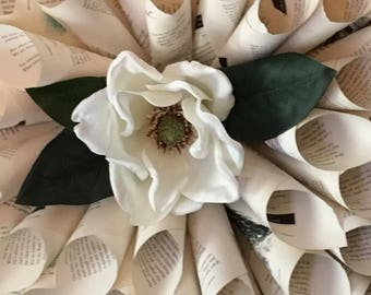 Magnolia Book Page Wreath