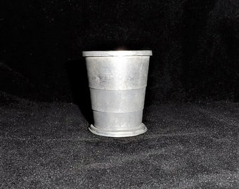 Vintage Pocket-Purse Collapsible Drinking Cup-Aluminum-Metal-Tin-Camping-Folding Hiking Cup with Lid-Orphaned Treasure-W041318Z