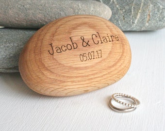 Engraved Wooden wedding ring box - Wooden Pebble - wooden ring box - Pebble ring box - Ring Bearer Box -Engagement Ring Box - Beach Wedding