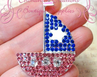 48mm Royal Blue and Pink Sailboat Pendant, Nautical Theme, Zipper Pull, Keychain, Bookmark