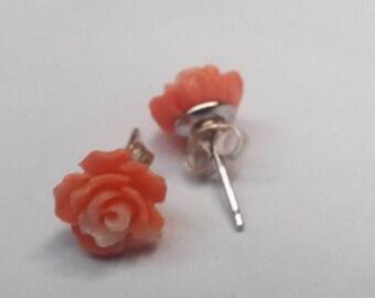 Silver studs ,Coral Rose Earrings , Stud Earrings , Coral Earrings ,Coral Colored Jewelry .Salmon colour,Peach flower