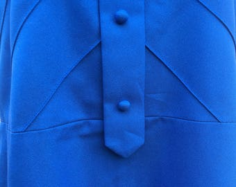 1960's 1970's electric royal blue Mod Girl shift dress true vintage front buttons detail original by Orni Model prop house UK Size 16 Large