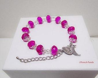 Bracelet beads fuchsia Crystal