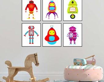 Set Of 6 Robot Prints Robot decor Nursery Wall Art Boy Baby Children Kids Room Decor robots nursery Robot nursery art Kids print set Retro