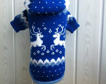 Knitted sweater with a hood for dogs and cats