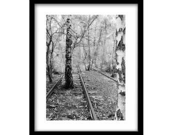 Abandoned Train Tracks in Berlin, Rairoad Photography, Black and White Photography, Photography Prints, Large Wall Art, Gift For Him
