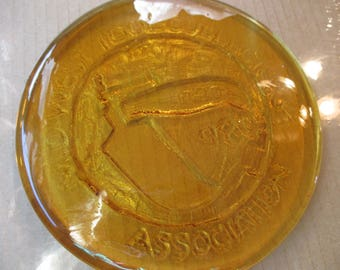 1980 Mid-West Tool Collectors Association glass plaque coaster