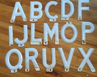 """Vintage Porcelain Enamel Marquee Letter 5.5"""" -your choice- Sign Letter - salvaged metal marquee letter -white metal sign letter"""