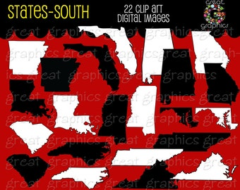 State Clip Art Map Digital Clipart Alabama Georgia Florida Mississippi Tennessee Louisiana Virginia Arkansas Carolina - Instant Download
