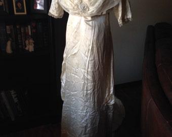 Spectacular Edwardian Silk Wedding Gown