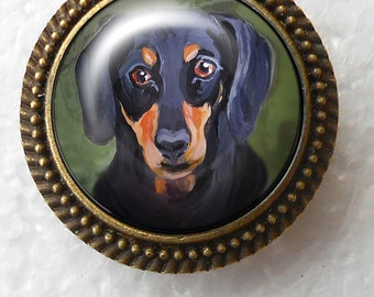 Dachshund Ring ~ Statement Ring ~ April Birthday ~ Pet Keepsake ~ Gifts for Her ~ Trending Items ~ Dog Painting ~ Just Because Gifts