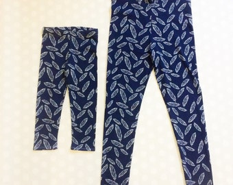 Mommy and Me Leggings - Feather Leggings for Girls - Girls Navy Leggings - Navy Feather Leggings - Feather Leggings - mommy and me