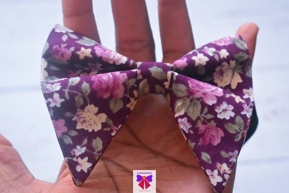 Purple floral butterfly / poppy Bow Tie  for Baby, Toddlers and Boys (Kids Bow Ties) with Braces / Suspenders