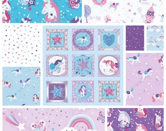 UNICORN KISSES COLLECTION by Studio e Quilting Craft Cotton Novelty Fabric