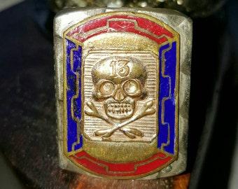 1940's #13 Skull -y- Crossbones Mexican Biker Ring
