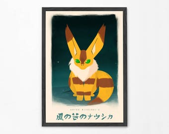 Nausicaä of the Valley of the Wind Poster, Teto Fox Squirrel Print, Miyazaki Print, Studio Ghibli, Anime Wall Art, Animal Illustration
