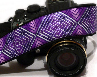 Purple Camera Strap. DSLR SLR Camera Strap. Geometric Camera Strap. Camera Accessories