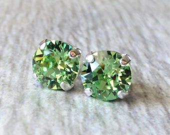 Peridot Green Swarovski Stud Earrings, Crystal Rhinestone Stud Earrings, Post Earrings, Silver Round Crystal Studs, Bridesmaid Gifts, Gift