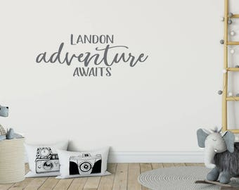 Personalized Adventure Awaits Decal - Nursery Wall Decal - Nursery Decals Boy - Nursery Decals Girl - Playroom Wall Decal - Name Wall Decal